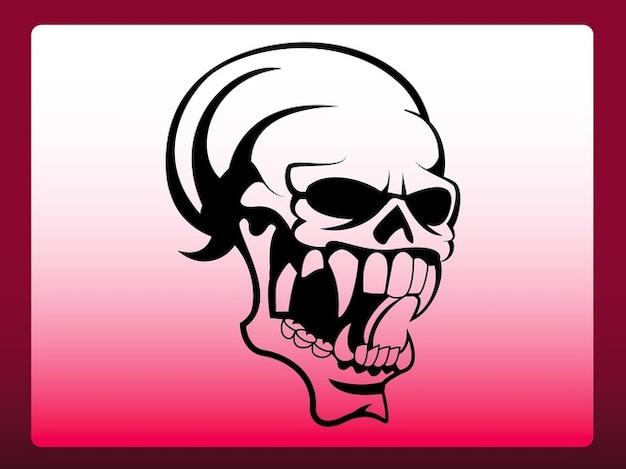 Angry monster skull dead bones vector