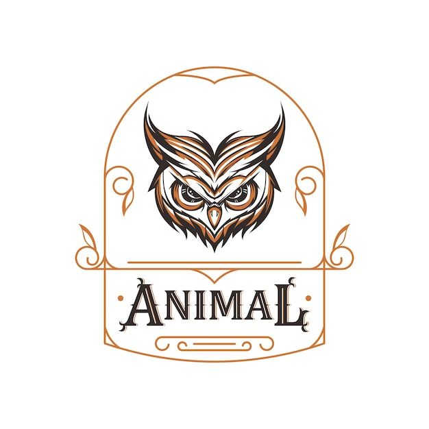 Angry owl head with ornament Premium Vector