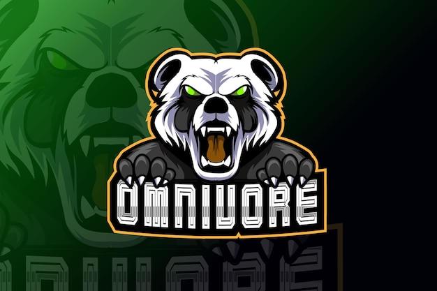 Злой панда-талисман для спорта и киберспорта с логотипом на темном фоне Premium векторы