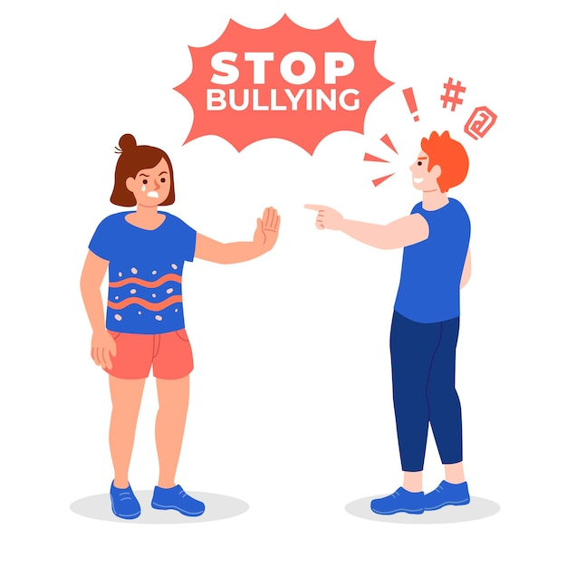 Angry people bullying illustrated Free Vector