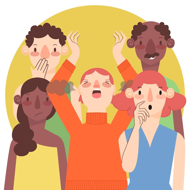Angry person in crowd design Free Vector
