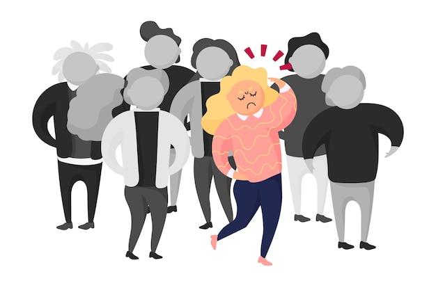 Angry person in crowd illustration Free Vector