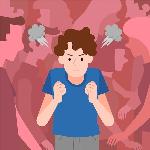 Angry person in crowd Free Vector