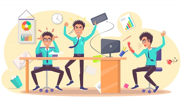 Angry person at work  illustration Premium Vector