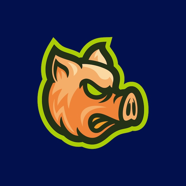 Angry pig head mascot vector illustration Premium Vector