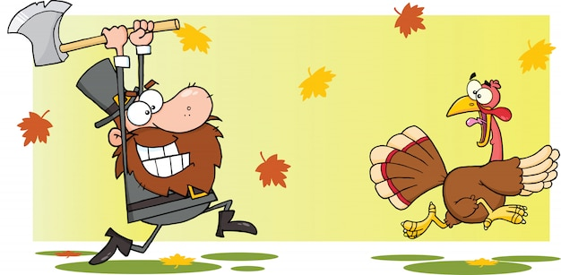 Angry pilgrim man chasing with axe a turkey Premium Vector