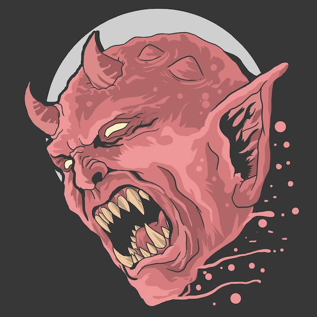 Angry red  devil Premium Vector