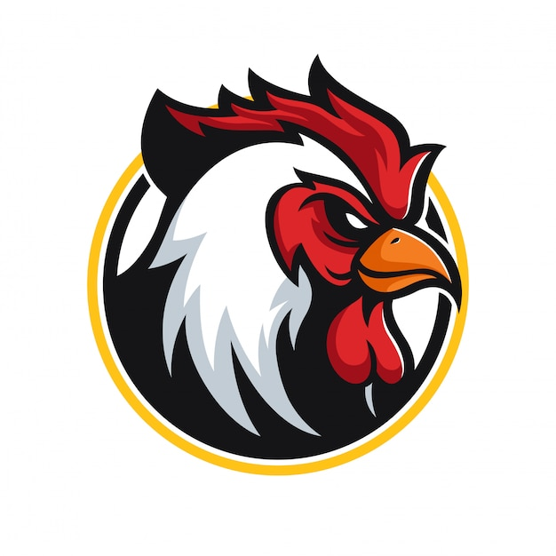 Angry rooster mascot logo Premium Vector