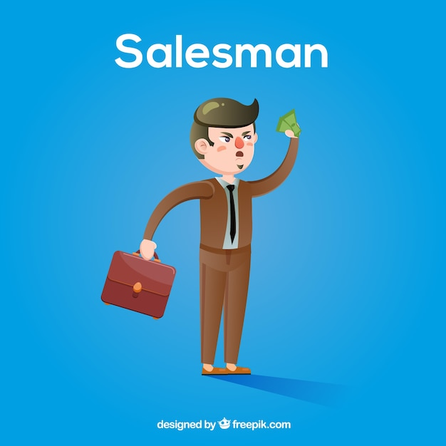 Angry salesman character with flat\ design