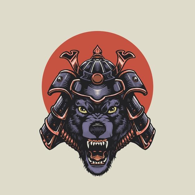 Angry samurai wolf illustration Premium Vector
