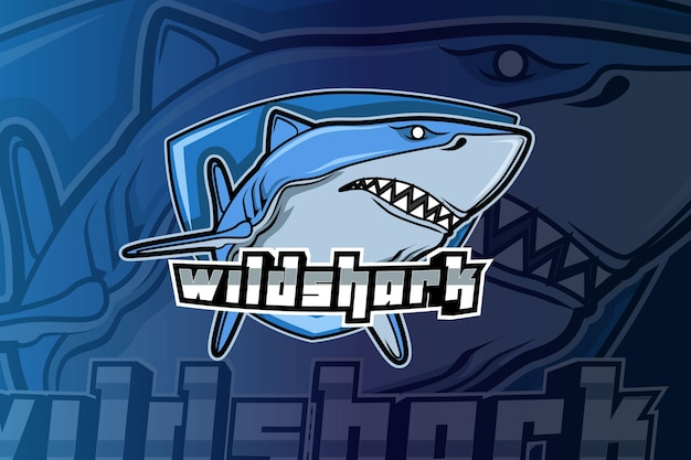 Angry shark mascot for sports and esports logo Premium Vector