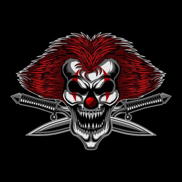 Angry skull clown cross sword Premium Vector