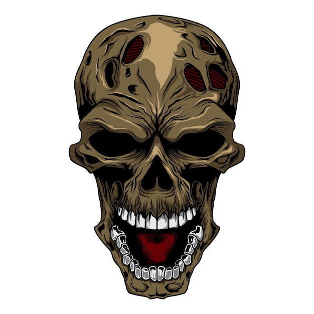 Angry skull head Premium Vector