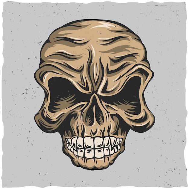 ベージュとグレーの色で怒っている頭蓋骨のポスター 無料ベクター