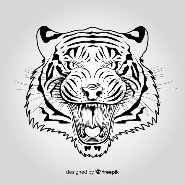 Angry tiger background Free Vector