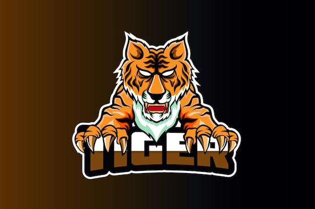 Шаблон логотипа злой тигр и спорт Premium векторы