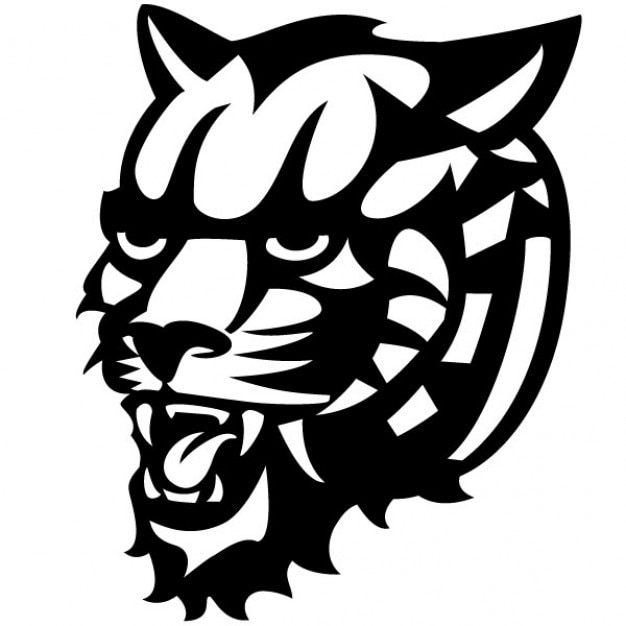 Angry tiger head vector drawing
