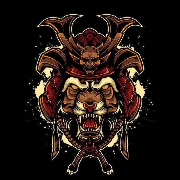 Винтажный стиль логотипа angry tiger с японским шлемом самурая Premium векторы