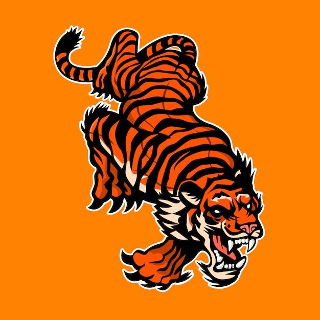 Angry tigerのロゴ Premiumベクター