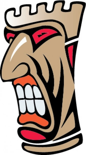 Angry totem aboriginal cartoon icon vector