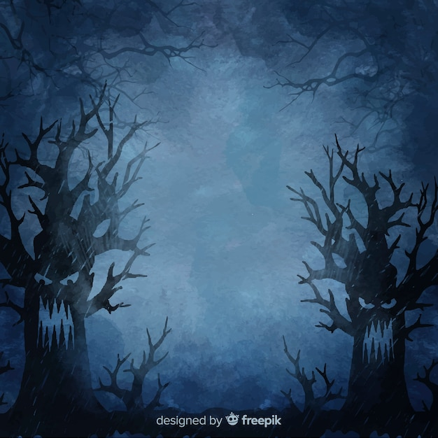 Angry trees at night halloween background Free Vector