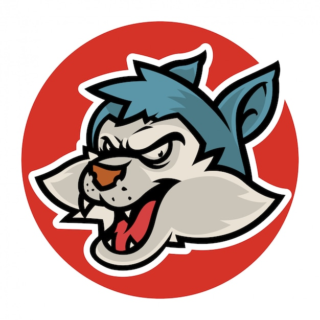 Angry ware wolf head Premium Vector