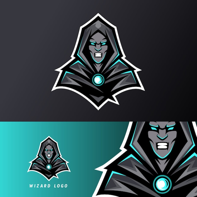 Angry wizard sport esport logo template black uniform in blue glow Premium Vector
