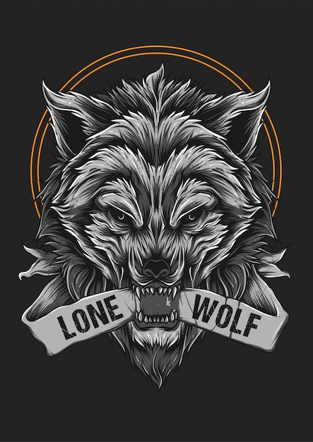 Angry wolf beast face illustration Premium Vector