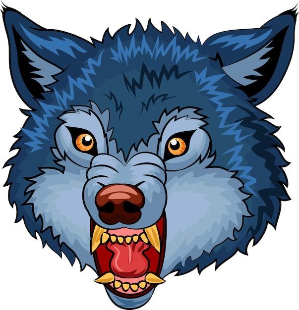 Angry wolf cartoon character Premium Vector