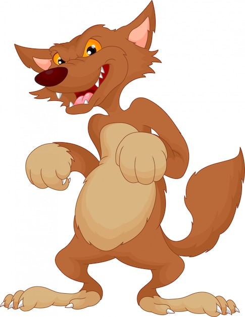 Angry wolf cartoon Premium Vector