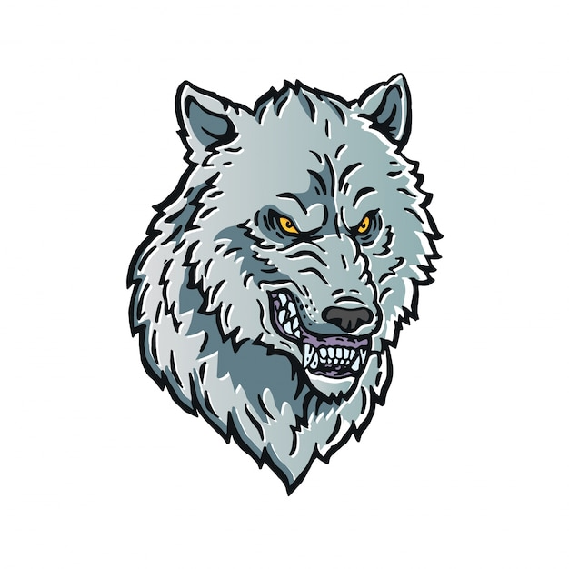 angry wolf head logo character illustration vector premium download rh freepik com wolf head logo quiz wolf head logo design