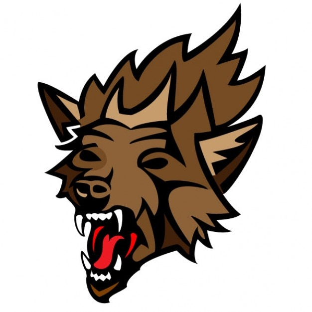 Angry wolf head vector illustration