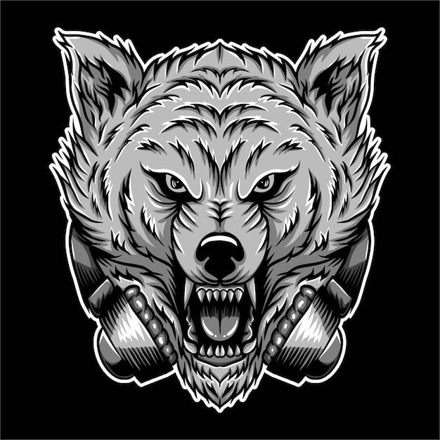 Angry wolf headphone vector illustration Premium Vector