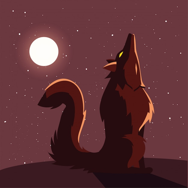 Premium Vector Angry Wolf Howling To The Moon In Scene Of Halloween