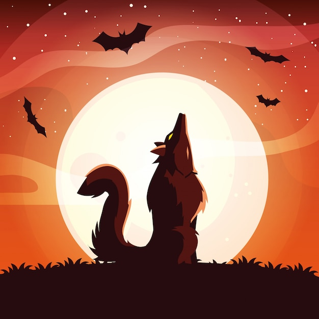 Angry wolf howling to the moon in scene of halloween Premium Vector