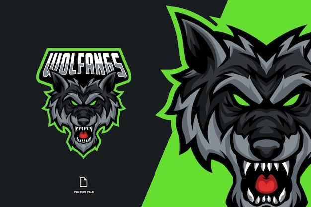 Логотип талисмана злой волк для шаблона киберспортивной команды Premium векторы