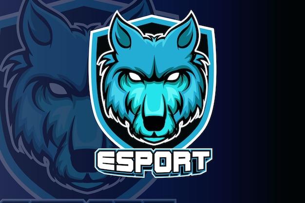 スポーツとeスポーツのロゴの分離のための怒っているオオカミのマスコット Premiumベクター