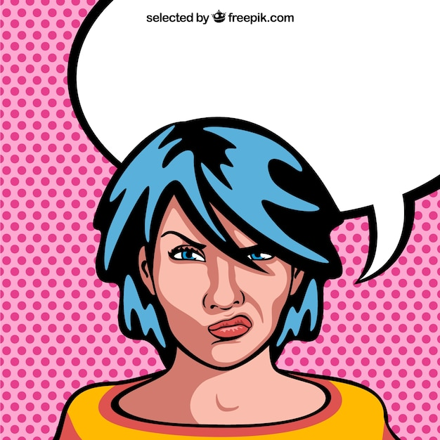 Angry woman cartoon with blank speech\ bubble