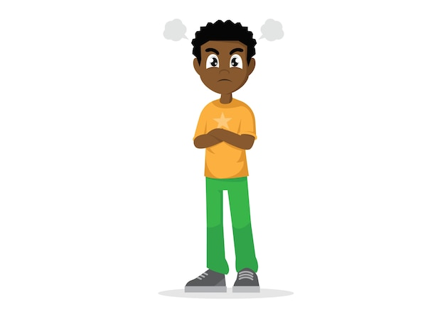 Angry young african man. Premium Vector