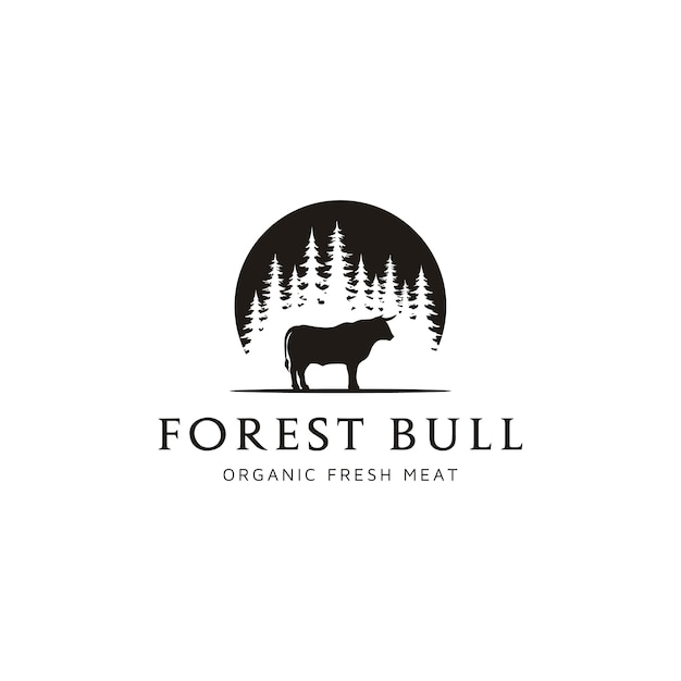 Angus cow cattle buffalo bull silhouette at pine fir conifer evergreen tree forest Premium Vector