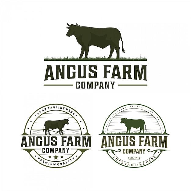 Angus farm vintage logo design Premium Vector