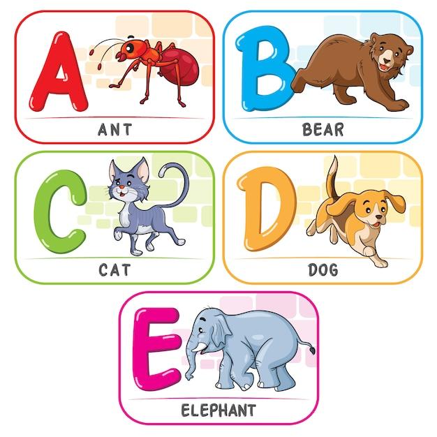 Animal alphabet a b c d e Premium Vector