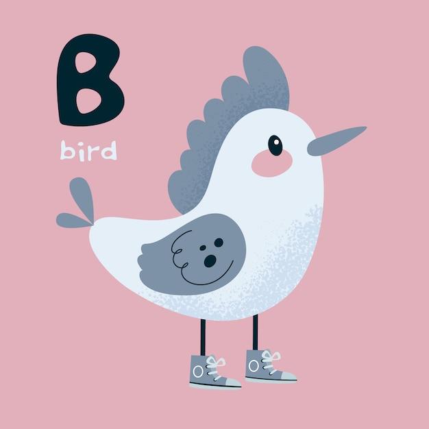 Animal alphabet. bird woodpecker. letter b. Premium Vector