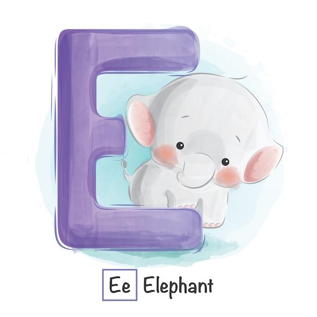 Animal alphabet - e Premium Vector