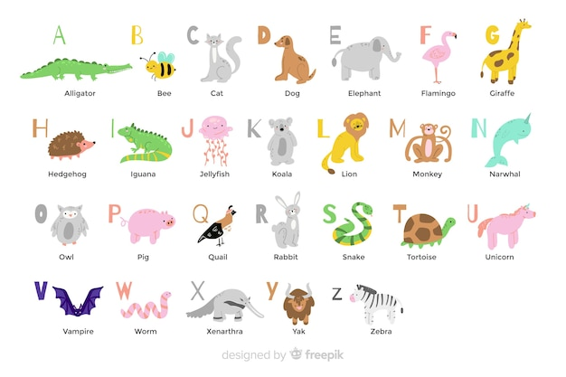 Animal alphabet in flat design Free Vector