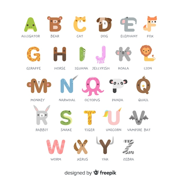 Animal alphabet from a to z Free Vector