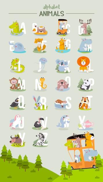 動物のアルファベットグラフィックa〜z。漫画のスタイルで動物とかわいいベクトル動物園アルファベット。 Premiumベクター