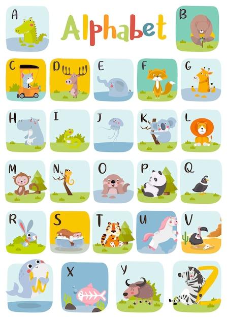 Животное алфавит графика от a до z. симпатичные зоопарк алфавит с животными в мультяшном стиле. Premium векторы