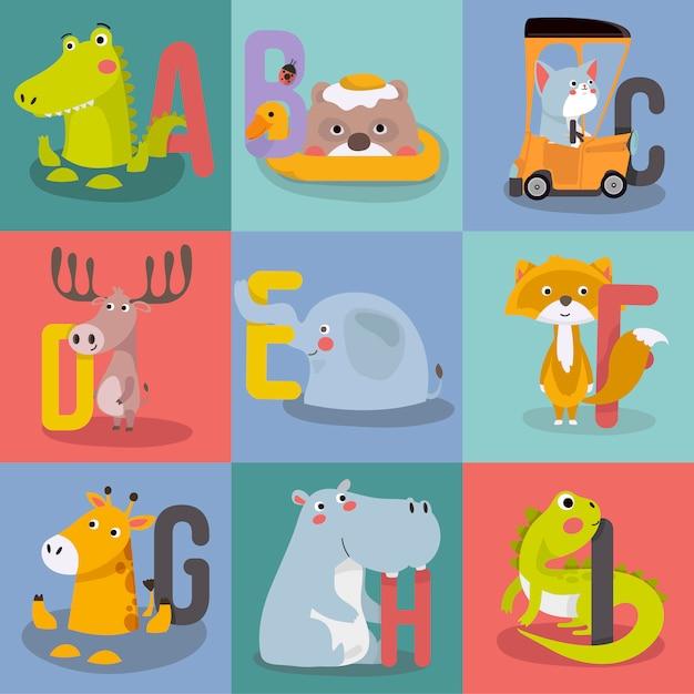 Animal alphabet graphic a to i. Premium Vector