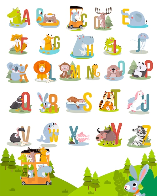 Animal alphabet graphic a to z. cute vector zoo alphabet with animals in cartoon style. Premium Vector